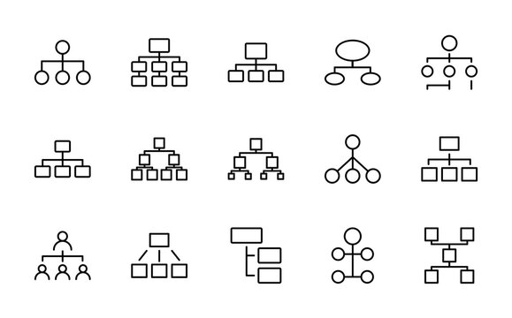 Hierarchy line icon set
