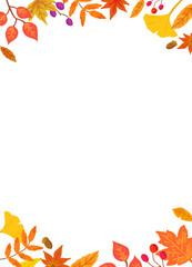 秋の紅葉した葉っぱのフレーム