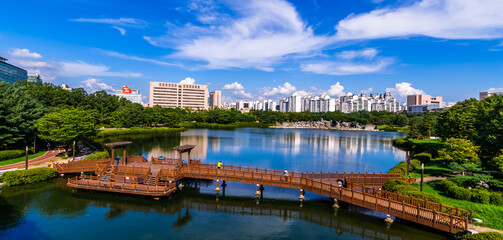 Overhead, southern view of Ilsan Lake in Goyang, South Korea.  Fotomurales