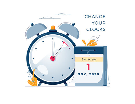 Daylight Saving Time ends concept. Calendar with marked date, text Change your clocks. The hand of the clocks turning to winter time. DST ends in usa, vector illustration in modern flat style design