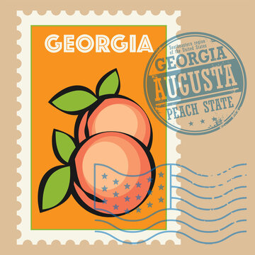 Stamp or sign with the name and map of Georgia, United States