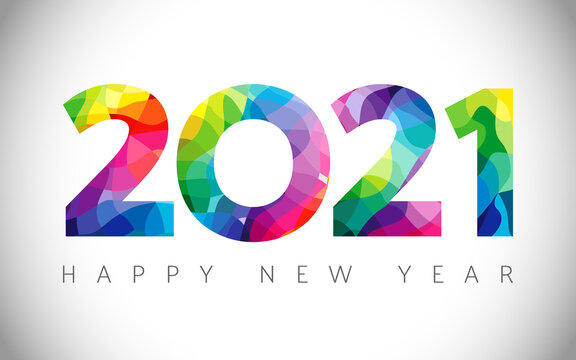 2021 A Happy New Year congrats concept. Stained glass logotype. Abstract isolated graphic design template. Decorative numbers. Coloured digits. Up to 20% percent off idea. Creative colorful decoration