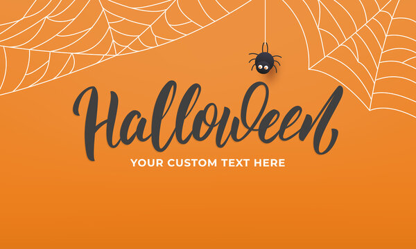 Halloween banner. Holiday Halloween background with lettering spider web