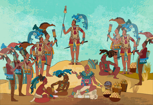 Pyramid and tribe. Maya background. Old frescos art. Aztec and Inca people. Historical concept. Ancient mexican history. Ancient Mayan. Mural painting style