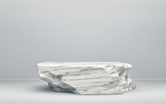 White stone podium on gray background. Minimal background for product presentation