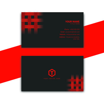 Black and red unique business card template