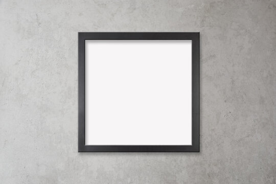 Black Frame Mockup on Concrete Wall with Clipping Path