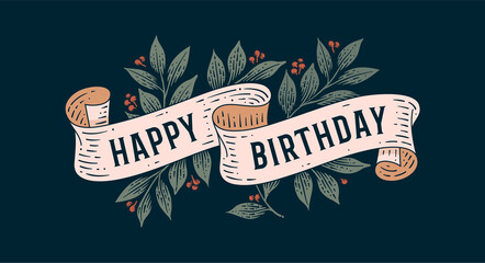 Happy Birthday. Retro greeting card with ribbon and text Happy Birthday. Old ribbon banner in engraving style. Old school vintage ribbon for greeting card happy birthday. Vector Illustration