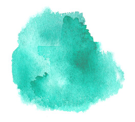 Cyan watercolor texture stain with aquarelle splash, brush strokes