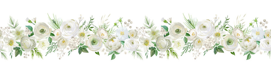Winter floral vector garland border, Watercolor Flowers Christmas season frame, holiday seamless background, with rowan berries, pine branch, ranunculus, xmas decoration banner