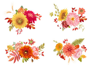 Watercolor vector autumn flowers bouquets, orange hydrangea, fern, dahlia, red rowan berry, sunflower, fall leaves collection. Isolated Floral colorful Set