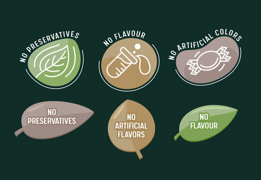 Set of Icons No Preservatives, Artificial Flavors and Colors, Isolated Labels in Shape of Leaves with Flask and Candy