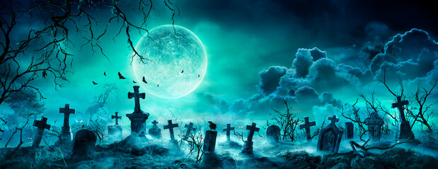 Printed roller blinds Akt Graveyard At Night - Spooky Cemetery With Moon In Cloudy Sky And Bats