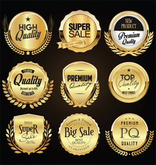 Obraz Collection of retro gold and black badge and label design - fototapety do salonu