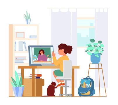 Girl Sitting In Front Of Laptop In Her Room Learning Using Video Conference With Teacher. Distant Education. Study From Home. Flat Vector Illustration.
