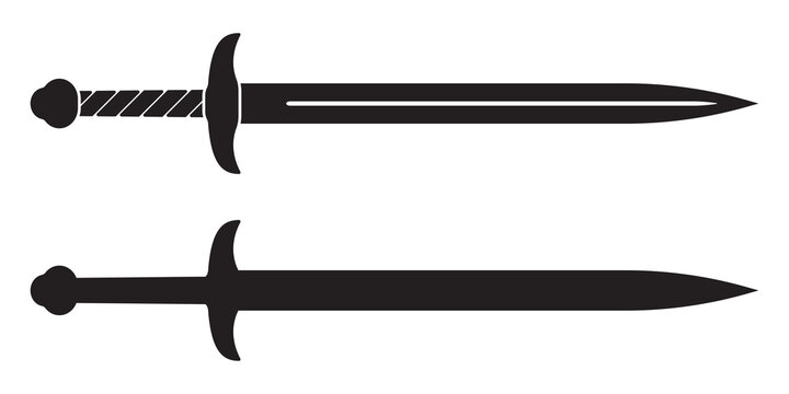 Sword icon. Medieval knight swords silhouette. Vector illustration.