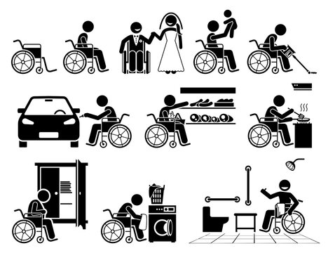 Disabled person on a wheelchair leading a normal life stick figure icons. Vector illustrations of a happy independent self reliance handicapped man doing daily activities and are self capable.