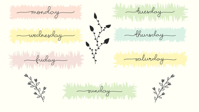 Vector handwritten week days and symbols set. Ink font. Stickers for planner and other. Clipart. Isolated