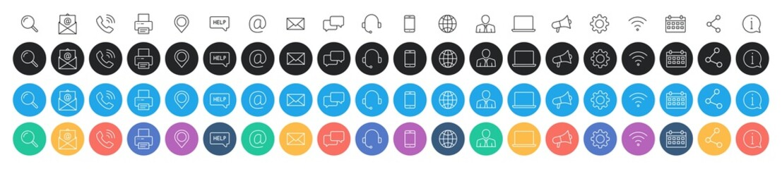 Wall Mural - Set of 80 Business Card icons. Name, phone, mobile, location, place, mail, fax, web. Contact us, information, communication. Vector illustration.