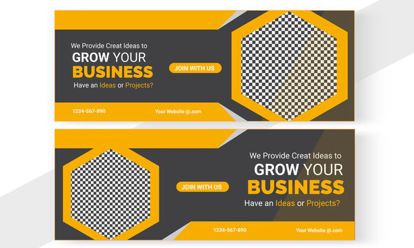 Business Facebook cover set vactor yellow black.new FB cover  clean design template
