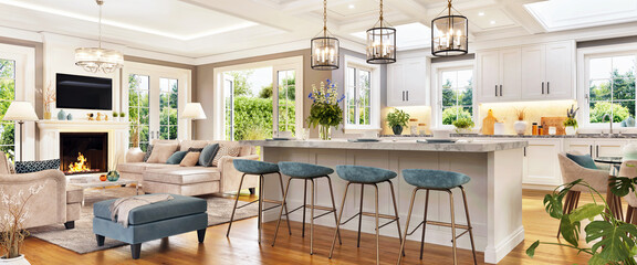 Luxurious living room interior design with fireplace and white kitchen. Open plan interior