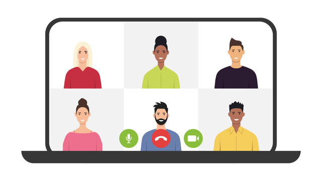 Video conferencing. Video call. Online communication and remote project management during quarantine. Vector illustration. Flat style.