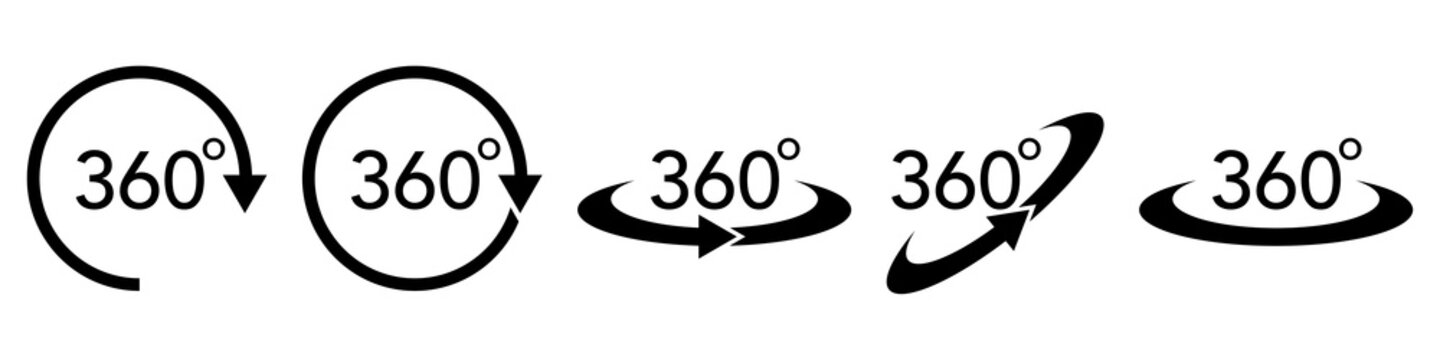 360 degree vector icon set. round arrow rotation symbol. full view concept on white background illustration.
