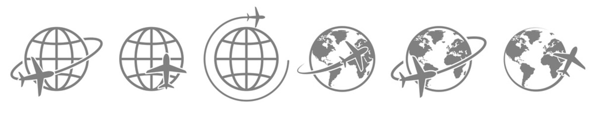 globe plane icon vector. airplane fly around the earth. international world fly sign symbol. isolated logo on white background. jet aircraft map global passenger cargo logistic concept