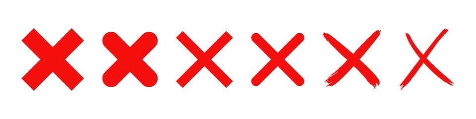 red cross x vector icon. no wrong symbol. delete, vote sign. graphic design element set on white background