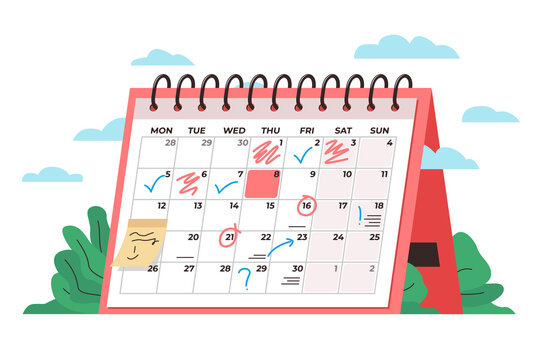 Calendar time management concept. Vector conceptual illustration of a big desk calendar showing monthly schedule with notes and check marks. Concept of time management, monthly schedule, timetable