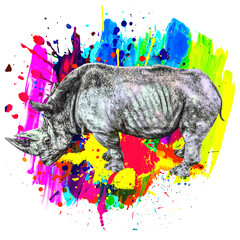 Rhinoceros on a bright abstract background