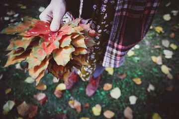 girl holds a red leaf