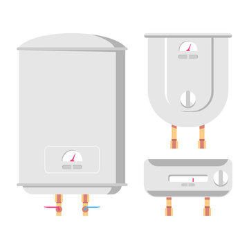 Water heaters vector cartoon set isolated on a white background.