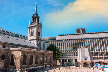 London, United Kingdom - May 15 2018: Guildhall Art Gallery built in 1885 on the site of London's Roman amphitheatre (discovered in 1985), houses the art collection of the City of London