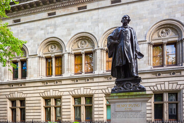 London, United Kingdom - May 13 2018: Statue of Sir Henry Irving, a stage actor in Victoria era at the Lyceum Theatre, the statue erected adjacent to the National Portrait Gallery
