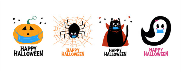 Quarantine Halloween greeting cards set. Jack o lantern, ghost, cat, spider in medical face mask. Isolated on white background. Vector stock illustration.
