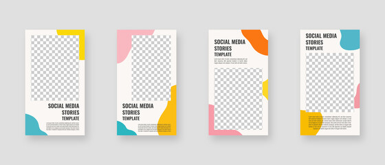 Social media template. Trendy editable social media stories template. Mockup isolated. Template design. Vector illustration.