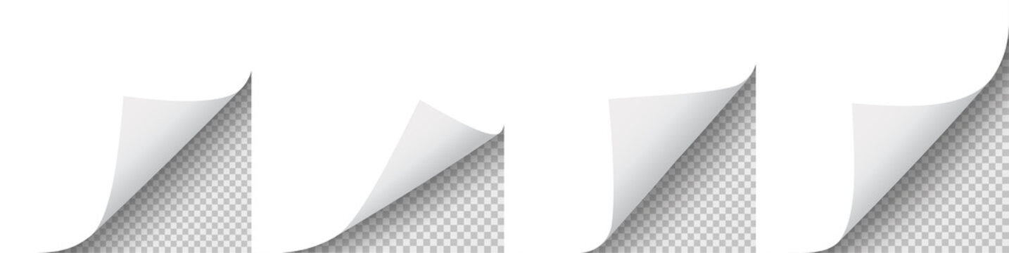 Page curl with shadow set. Vector