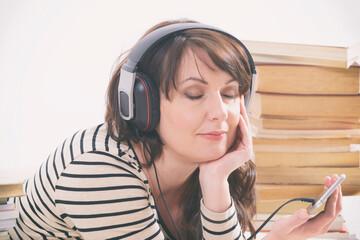 Woman listening an audiobook