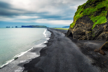 Wall Mural - Aerial view of the Reynisfjara black sand beach in south Iceland