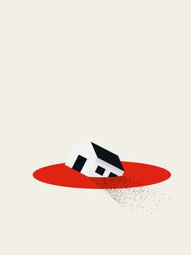 Real estate or housing market crash vector concept. Symbol of financial crisis, recession.