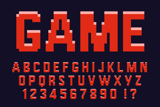 Pixel 3d retro red font Video computer game design 8 bit letters and numbers Vector alphabet