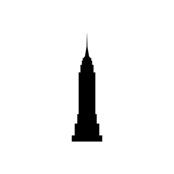 empire state building new york black sign icon. Vector illustration eps 10