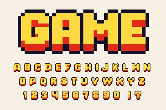 Pixel 3d retro font Video computer game design 8 bit letters and numbers Vector alphabet