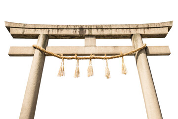 Isolated Japanese Torii Gate.