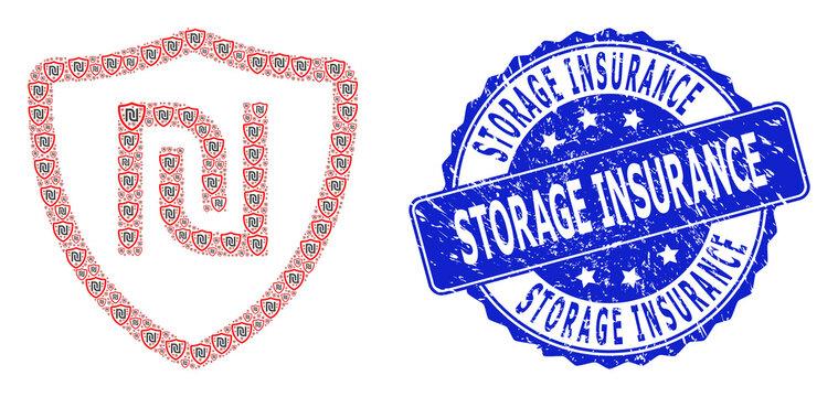 Distress Storage Insurance Round Seal Stamp and Fractal Shekel Shield Icon Mosaic