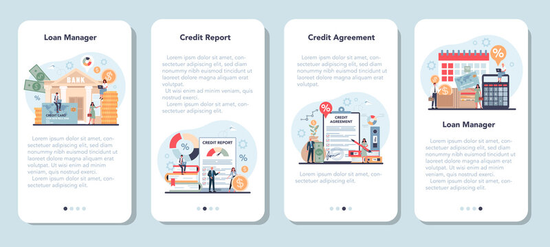 Loan manager mobile application banner set. Bank employee
