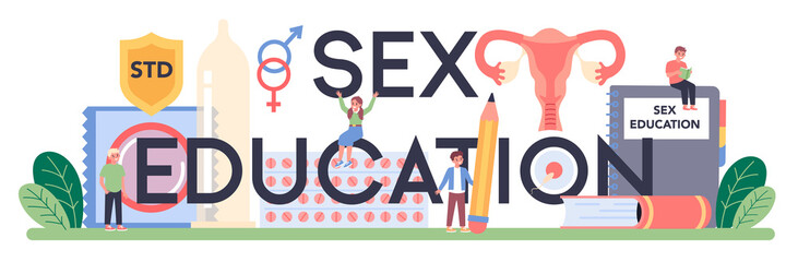 Sexual education typographic header. Sexual health lesson