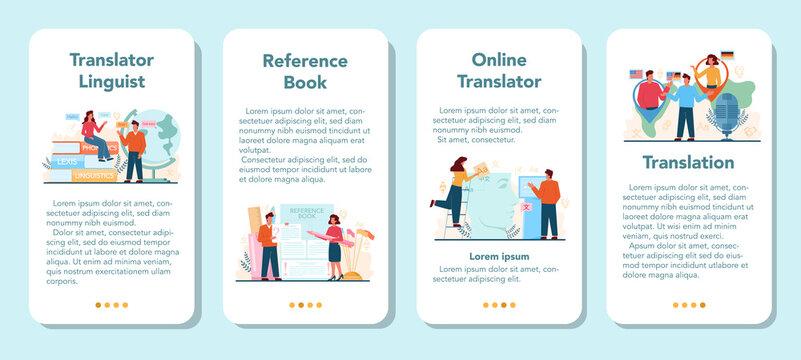 Translator and translation service mobile application banner set.