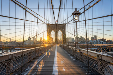 Brooklyn Bridge at sunrise, New York City, USA